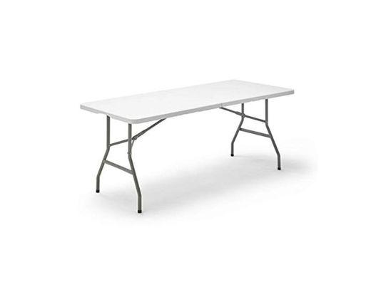 Mesa Plegable Rectangular, 180 x 74 x 74 cm, color blanco