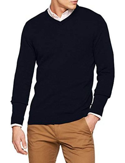 JACK & JONES Jjebasic Knit V-Neck Noos suéter, Azul