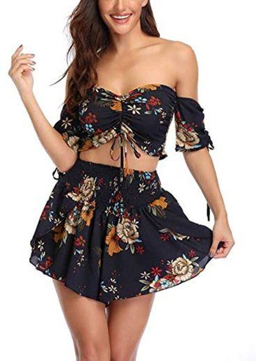 Dilgul - Conjunto de ropa de playa de dos piezas para mujer,