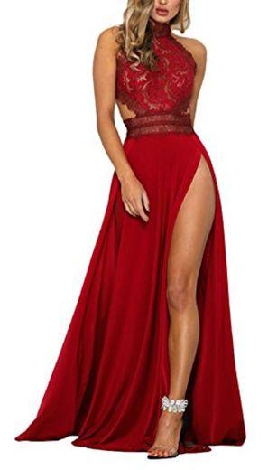 Mujer Vestidos De Fiesta Largos De Noche Elegantes Transparentes Encaje Splicing Sin