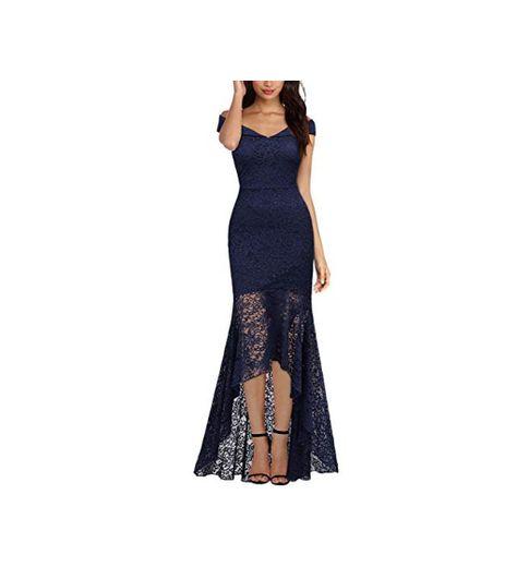 Miusol Vintage Encaje Slim Vestido de Noche Largo para Mujer Azul Marino