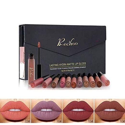 Rechoo 12 Pcs Barra de Labios Mate/Superstay Matte Pintalabios Maquillaje de Belleza