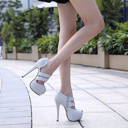 Phorecys - Sandalias de tacón alto para mujer con plataforma y puntera