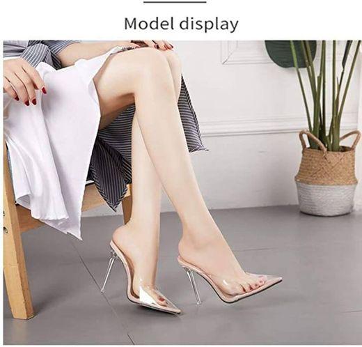 Holibanna Sandalias Transparentes de Tacón Alto para Mujer Tacón Fino Sandalias de Tacones Altos Talon Grueso Casual Zapatillas Zapatos Cómodo