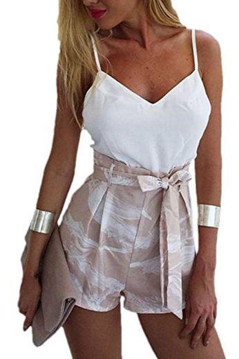 Las Mujeres Elegantes Trajes De 2 Piezas Rompers Cami Top Y Pantalones Cortos White XS