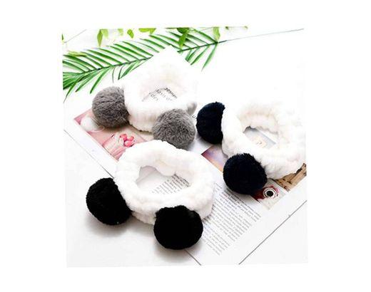 Bongles Elástica Del Oído Panda Linda Diadema Suave Para La Mujer De Maquillaje Ducha Lavado De Cara Máscara Del Balneario Wraps Cabeza