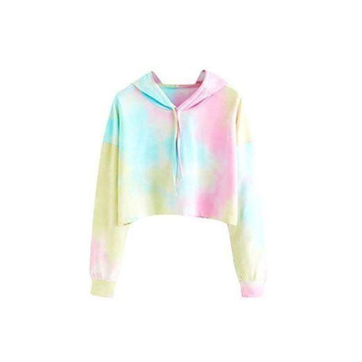 Color Tie Dye Sudaderas Tumblr Cortas con Capucha para Mujer Chica Adolescente