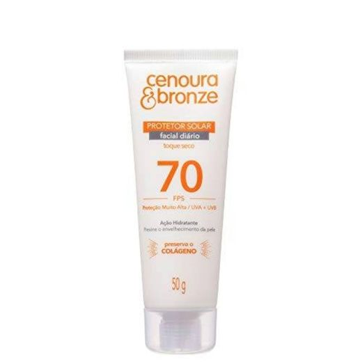 Protetor Solar Facial Cenoura e Bronze FPS70 50g, Cenoura e
