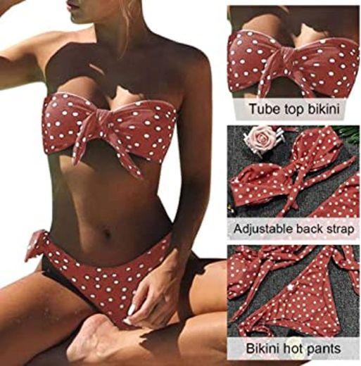 UMIPUBO Bikini Mujer Dos Piezas Ropa con Estampado de Lunares Push-Up Traje
