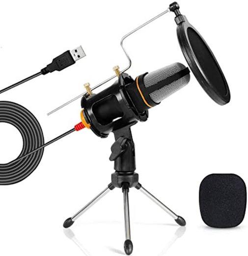TONOR Micrófono PC Micrófono de Condensador Computadora USB Plug & Play con