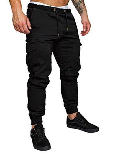 FGFD Pantalones de Hombre Jogger Deportivos Pantalón Cargo Casuales Chino de Algodón