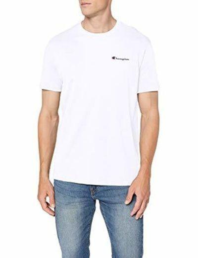 Champion Classic Small Logo para Hombre Camiseta, Blanco
