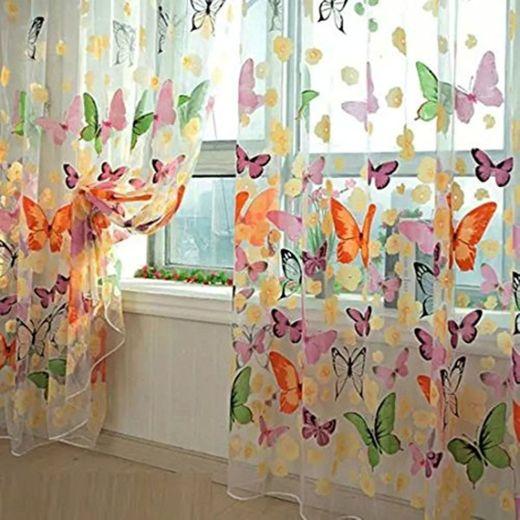 Mariposa floral cortinas Visillos gasa de Tulle de la cortina de ventana