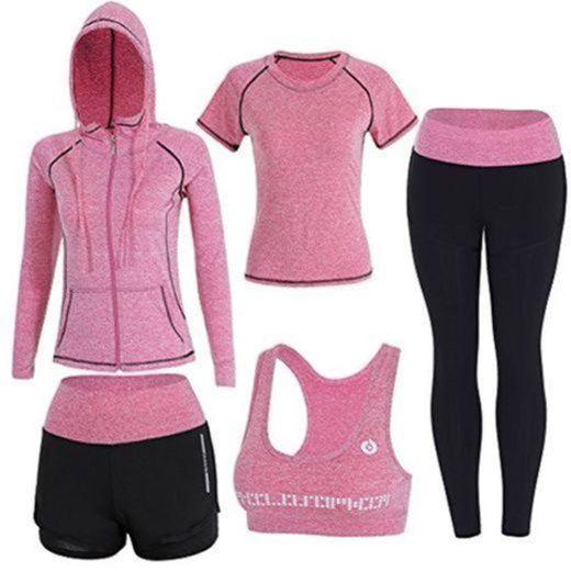 BOTRE 5 Piezas Conjuntos Deportivos para Mujer Chándales Ropa de Correr Yoga