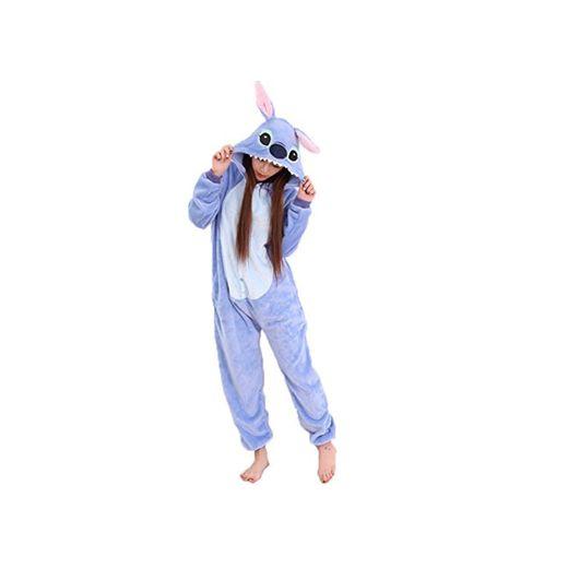 JunYito Pijama Pikachu Animale Disfraz Stitch Traje Niños Niña Adulto Mujer Invierno