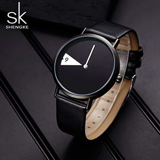 SHENGKE Reloj Minimalista para Mujer Correa de Cuero Ultrafina Moda Relojes de