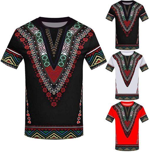 Overdose Moda Masculina Impresa Africana Camiseta Manga Corta Camisa Informal Top Blusa étnico Camisas De Hombre Vintage Divertidas Fiesta Estampados
