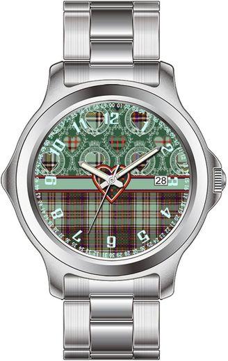 Mac Donald Tartan Scottish Cage Relojes de Pulsera de Cuero de Acero Inoxidable Relojes de Pulsera