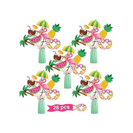 Juego de Palitos de Centro de Mesa de Fiesta Hawaiana 28 Topper