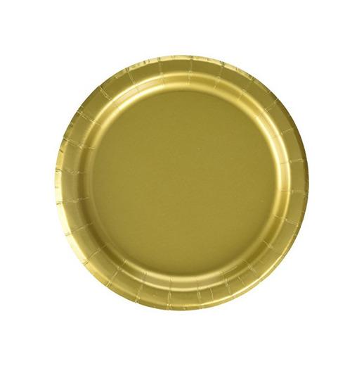 Unique Party -  Platos de Papel - 17.1 cm - Oro