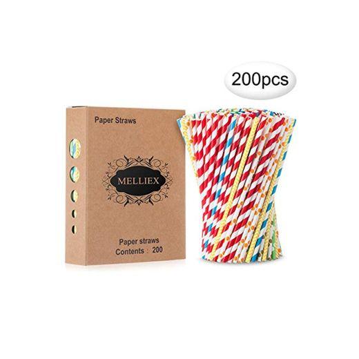 200PCS Pajitas de papel biodegradables Pajitas de papel de colores Pajitas desechables