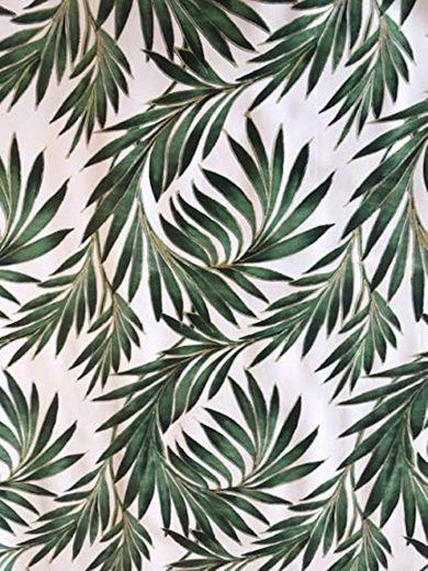 Mantel de vinilo con hojas de palmeras verdes, adecuado para hasta ocho