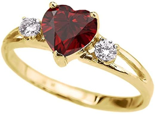 Precious 14k Yellow Gold Garnet Heart Proposal ... - Amazon.com