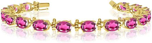 14K Yellow Gold Oval Pink Topaz Tennis Bracelet (6 ... - Amazon.com