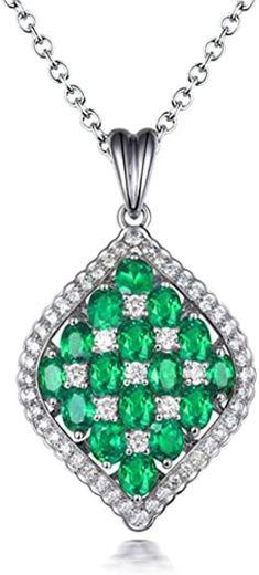 Lanmi Jewelry 18kt White Gold Natural Emerald Ruby ... - Amazon.com