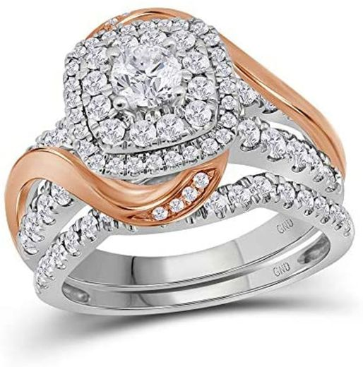 Rose tone Women's Diamond Certified Wedding B07HGJQKGR