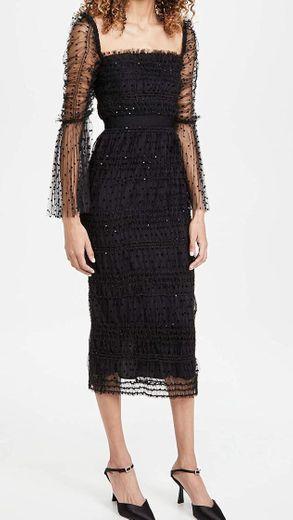 Self Portrait Women's Black Dot Mesh Midi Dress at Amazon ...