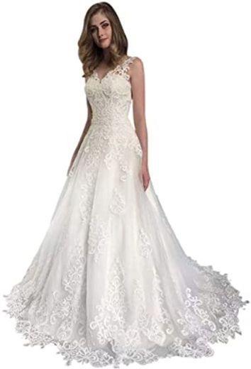 Amazon.com: Rimoo Women's Lace Appliques Wedding Dresses for ...