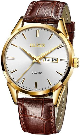 Men Brown Leather Watch,Leather Gold Watch Men ... - Amazon.com