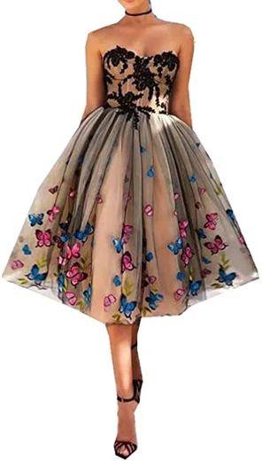 Vestido de fiesta de encaje con estampado de ... - Amazon.com