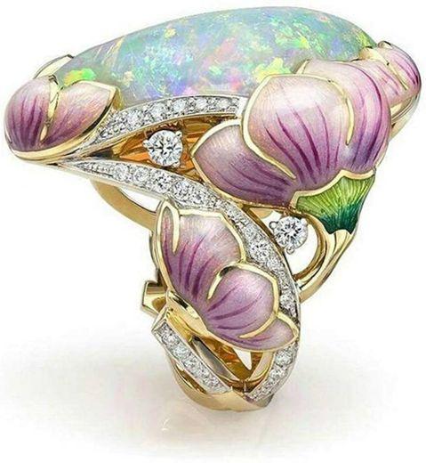 HOTSKULL Elegant 18K Solid Gold Floral Ring ... - Amazon.com