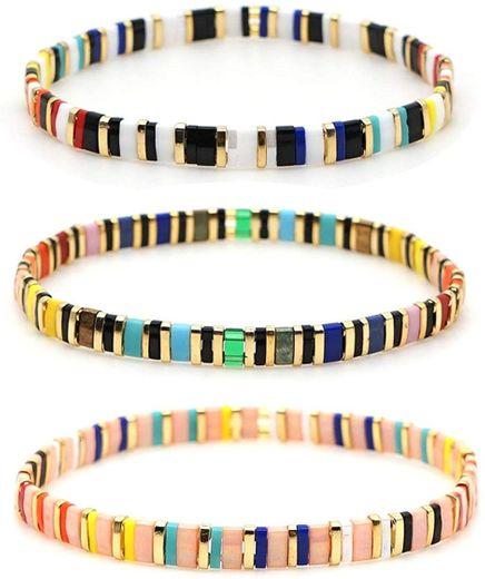 Amazon.com: EOGAIL 3pcs Bohemian Bracelets for Man Miyuki Tile ...