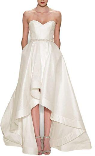 LMBRIDAL Women's Sweetheart Fashion High Low Wedding Dress ...