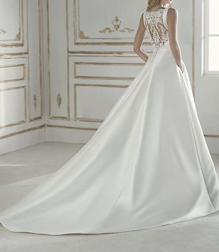 Amazon.com: Zhongde A Line Satin Lace Bridal Gown Boat Neck ...
