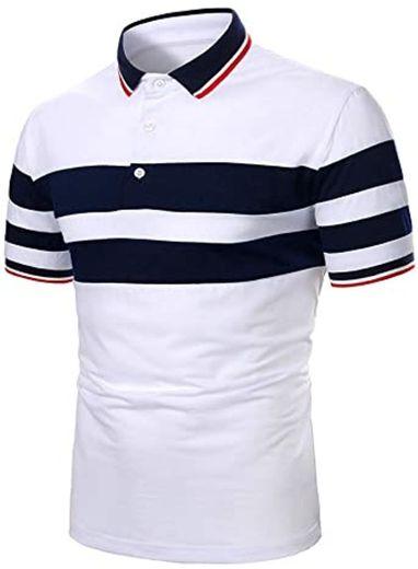 Men Polo Men Shirt Short Sleeve Polo Shirt Contrast Color Polo ...