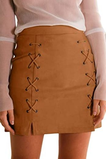 Meyeeka Womens Sexy High Waist Lace Up Bodycon Faux Suede ...