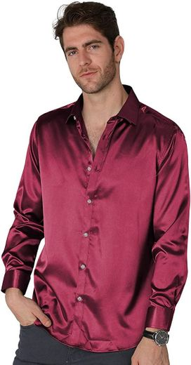 VICALLED - Camisa de Vestir de satén para Hombre, Corte ...