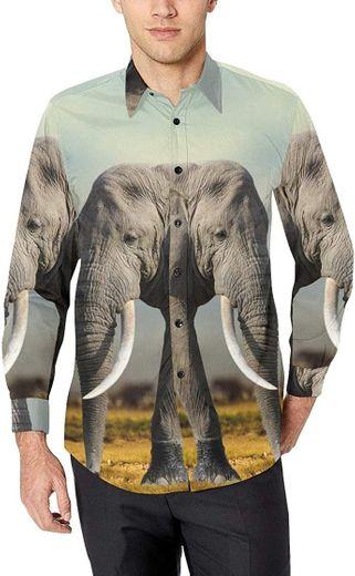 Boy Dress Shirt Men Fancy Dress Shirts African Elephant Masai ...