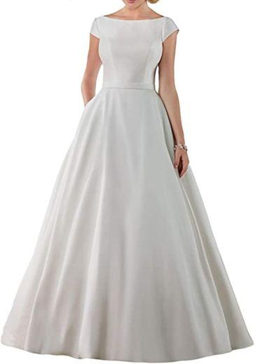 Women's A-Line Cap Sleeves Satin Wedding Dress Formal Bridal ...