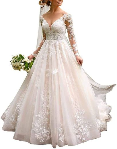 Amazon.com: Women's Sweetheart Long Sleeves Lace Wedding ...