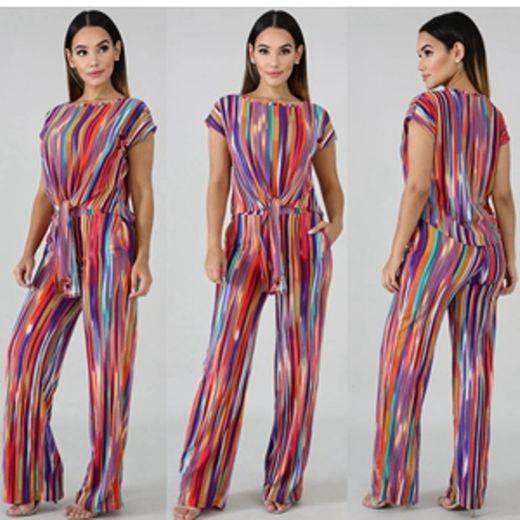Mujeres Rainbow Stripe Print 2 piezas Trajes Mono ... - Amazon.com