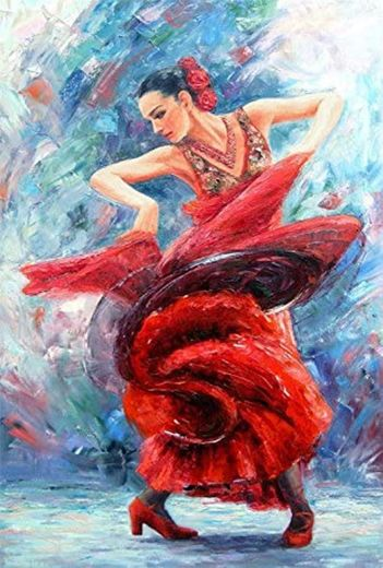 Real Hand Painted Flamenco Red Dress Canvas Oil ... - Amazon.com