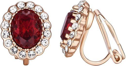 Red Clip On Earrings For Women Wedding Bride Ruby Jewellery ...