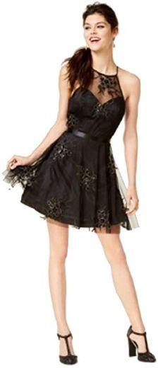 Amazon.com: B Darlin Juniors' Embellished Fit & Flare Dress (Black ...
