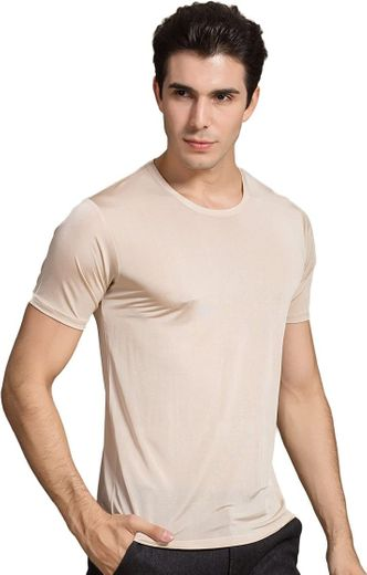 Colorful Silk CLC Men's Mulberry Silk Round Neck T-Shirt Knit ...