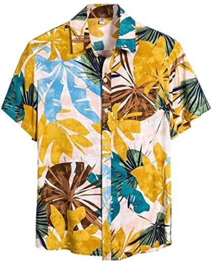 Coersd Men's Ethnic Flower Pattern Short Sleeve Casual